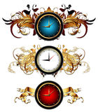 Clocks with floral elements Royalty Free Stock Photography