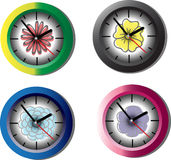 Clocks. Four colourful  clocks isolated on white background Stock Photography