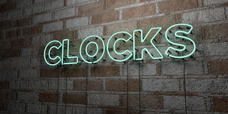 CLOCKS - Glowing Neon Sign on stonework wall - 3D rendered royalty free stock illustration Stock Photography
