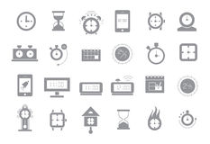 Clocks gray vector icons Royalty Free Stock Images