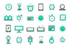 Clocks green-gray vector icons set Stock Photo