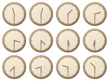 Clocks, half an hour. Vector illustration: set of clocks, half an hour vector illustration