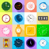 Clocks icons set colorful, flat style Royalty Free Stock Photos