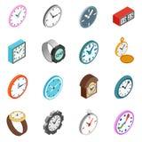 Clocks icons set, isometric 3d style Stock Image