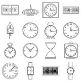 Clocks icons set, outline style Royalty Free Stock Photos