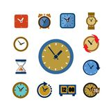 Clocks icons Stock Photography