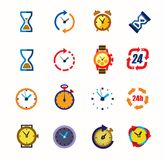 Clocks icons Stock Images
