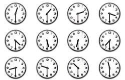 Clocks indicating the half hour Royalty Free Stock Photo