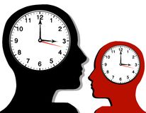 Clocks Inside Silhouette Heads. An illustration featuring a pair of silhouette head figures in black and red - each with clocks inside their heads to represent stock illustration