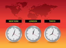 Clocks London, New York, Tokio. Realistic illustration Royalty Free Stock Photo