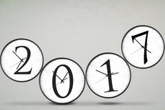 Clocks with number 2017 Royalty Free Stock Photography