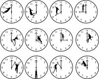 Clocks with people. Clock faces showing each hour with silhouettes of people Royalty Free Stock Images
