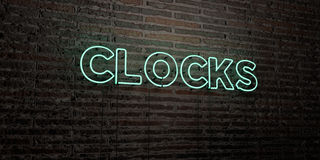 CLOCKS -Realistic Neon Sign on Brick Wall background - 3D rendered royalty free stock image Royalty Free Stock Photography