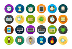 Clocks round  icons set Royalty Free Stock Images