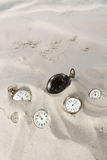 Clocks in the sand Stock Photography