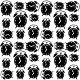 Clocks seamless background. Black and white vector. Royalty Free Stock Photography