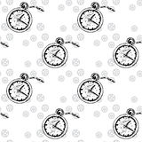 Clocks Seamless pattern  with  pocket watches and gears Stock Photography