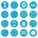 Clocks set blue Stock Images