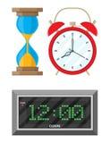 Clocks set. hourglass, analog and digital clock Royalty Free Stock Photos