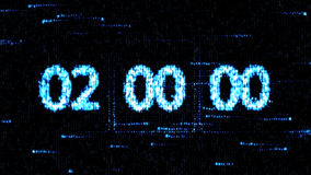 Clocks are set at 02:00 starting a new countdown. The countdown on the computer screen. Zero countdown Royalty Free Stock Photos