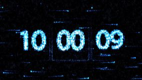 Clocks are set at 10:00 starting a new countdown. The countdown on the computer screen. Zero countdown stock video
