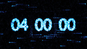 Clocks are set at 04:00 starting a new countdown. The countdown on the computer screen. Zero countdown. The countdown on the computer screen. Clocks are set at Stock Image
