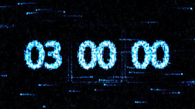Clocks are set at 03:00 starting a new countdown. The countdown on the computer screen. Zero countdown. The countdown on the computer screen. Clocks are set at Stock Photos