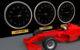 Clocks showing 3 cities times next to fast F1 car Royalty Free Stock Photo