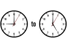 Clocks showing 9 to 5. Two clocks showing the times 9:00 to 5:00 on a white background Stock Images