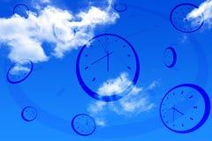Clocks and sky. Many clocks on the sky Royalty Free Stock Photos
