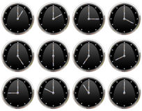 Clocks ticking all hours. Collection of clocks ticking all hours Royalty Free Stock Photos