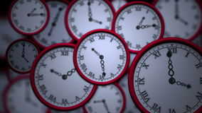 Clocks ticking in high speed stock footage