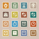 Clocks and time icons set Stock Images
