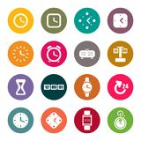 Clocks and time theme icons set Stock Image