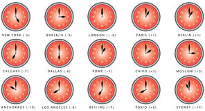 Clocks with time zone Stock Photo