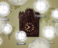 Clocks and time zones over the world concept Stock Image