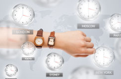 Clocks and time zones over the world concept Stock Photography