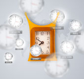 Clocks and time zones over the world concept Stock Photos