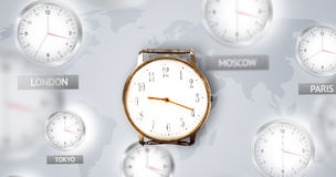 Clocks and time zones over the world concept Stock Photo