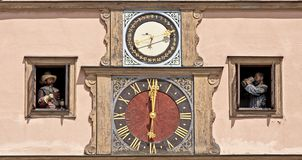 Clocks on town hall of Rothenburg o.d.t Stock Images