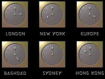 clocks världen royaltyfri illustrationer