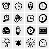 Clocks vector icons set on gray Royalty Free Stock Image