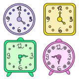 Clocks. Vector of multicolored different clocks Royalty Free Stock Images