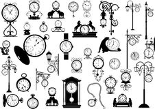Clocks and watches. Collection of vector clocks and watches, black and white Stock Photos