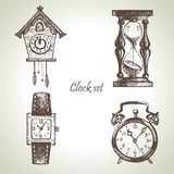 Clocks and watches, illustrations set Stock Photography