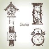 Clocks and watches, illustrations set royalty free illustration