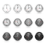Clocks and watches - Set 2 - white and black Royalty Free Stock Photography