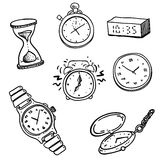 Clocks and watches set. Hand drawn set of doodle clocks and watches Stock Image