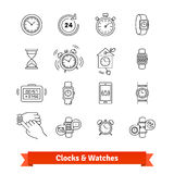 Clocks and Watches. Thin line art icons set Royalty Free Stock Image