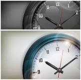 Clocks on white and black Stock Image